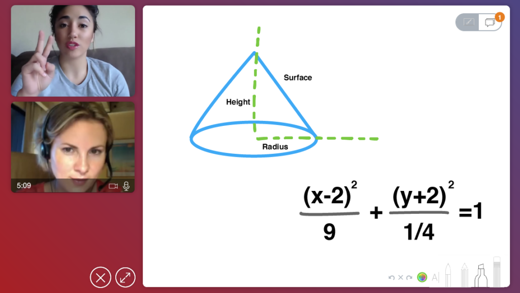 A screenshot of a student learning in an online tutoring classroom