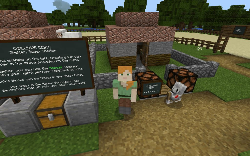 Screenshot of a minecraft Tynker challenge