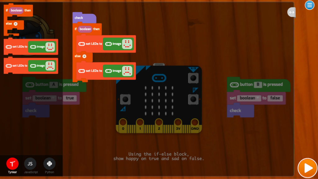 Screenshot of a tynker course in micro:bit coding