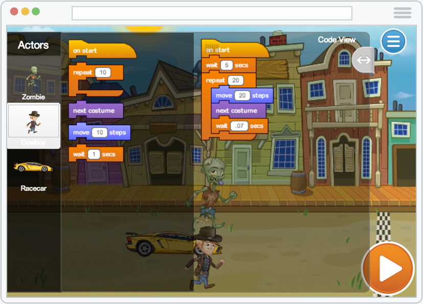Screenshot of Tynker's block coding in action