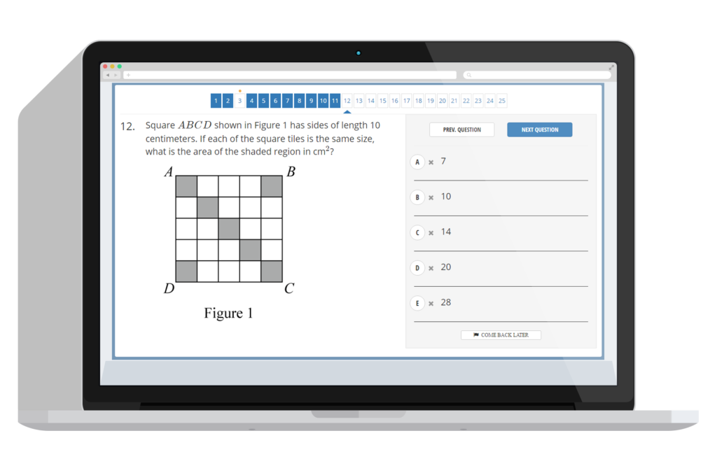 Screenshot of Online SSAT test by test innovators
