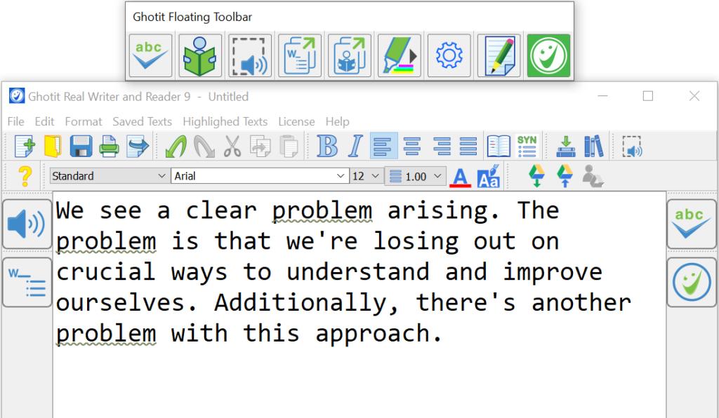 screenshot of Ghotit Real Writer text editor
