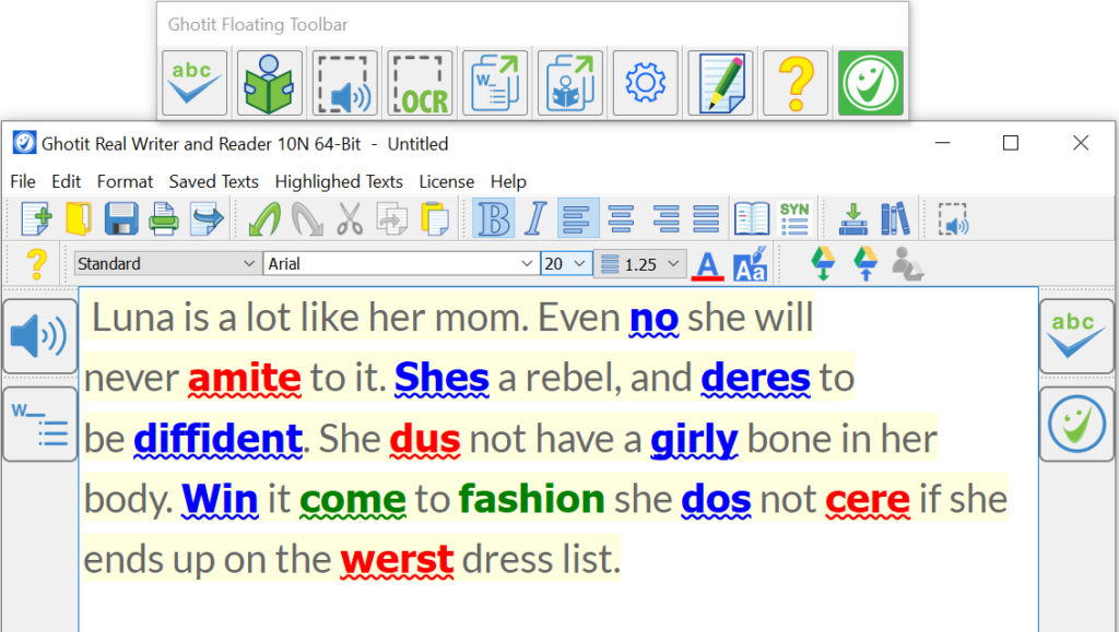 Screenshot of Real Writer with highlighted errors
