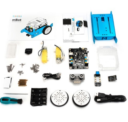 picture of all pieces included in mbot kit
