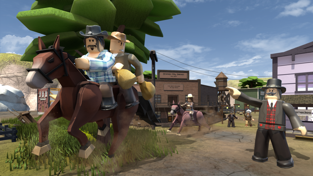 Still image of a wild west Roblox game