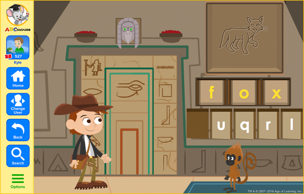 screenshot of ABCmouse.com spelling game