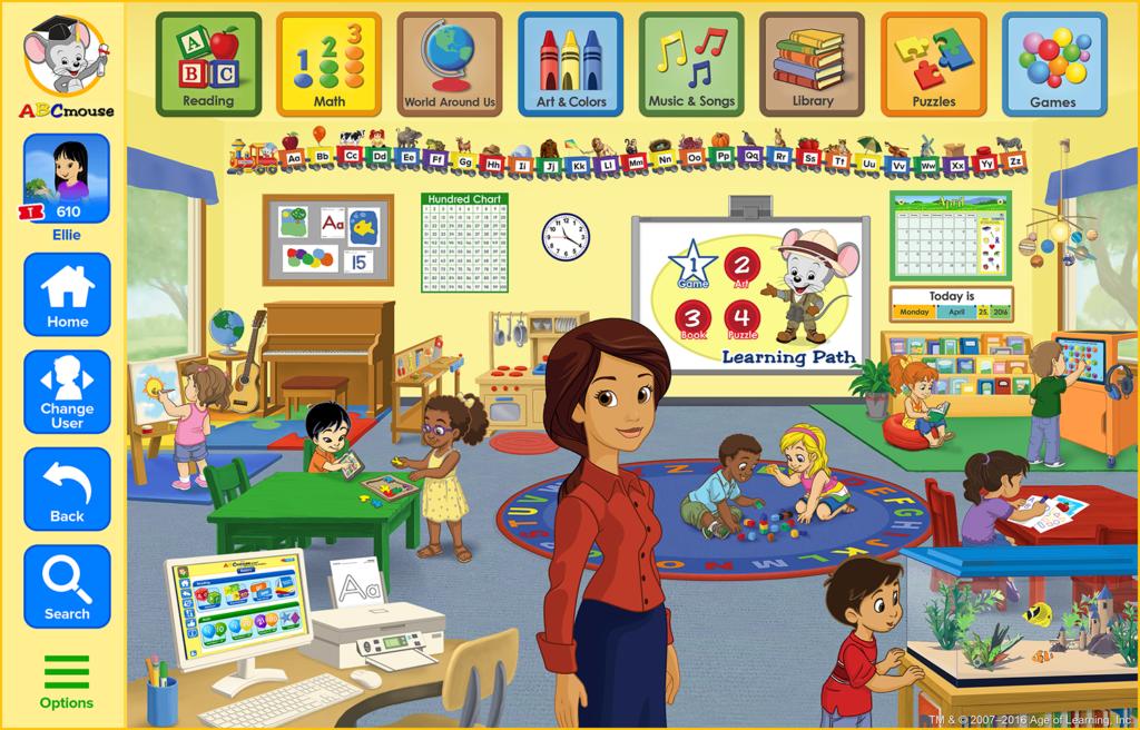screenshot of the ABCmouse.com classroom