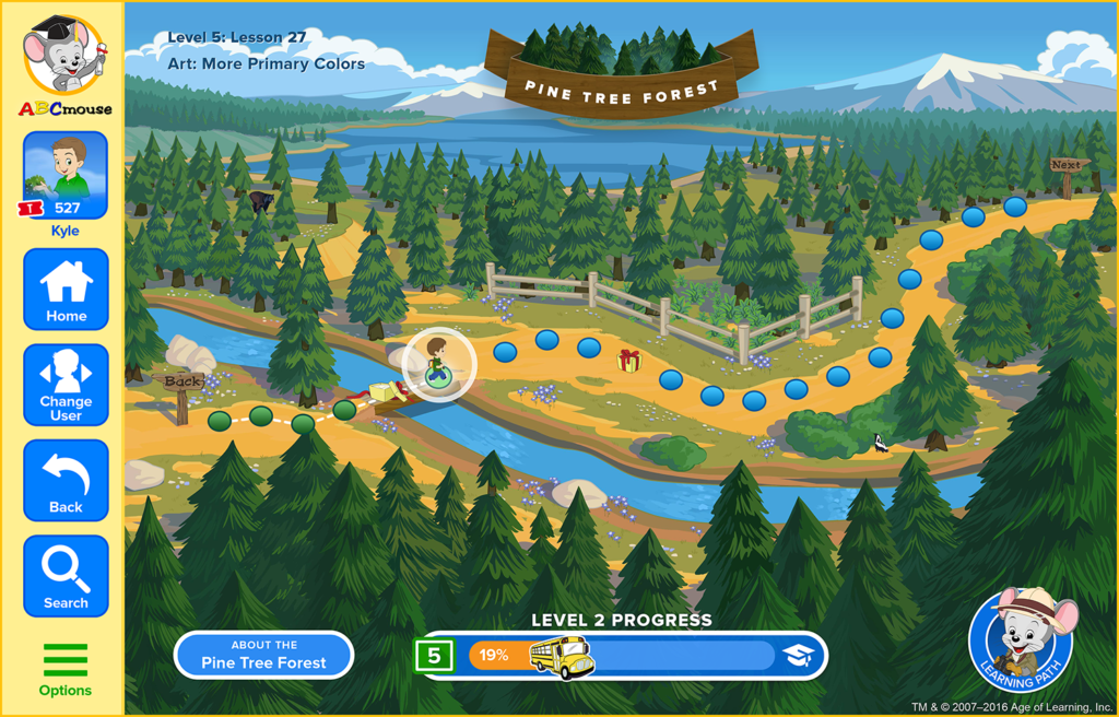 screenshot of ABCmouse.com learning path