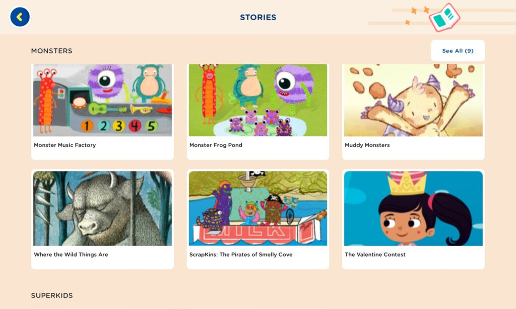 Homer reading app stories section