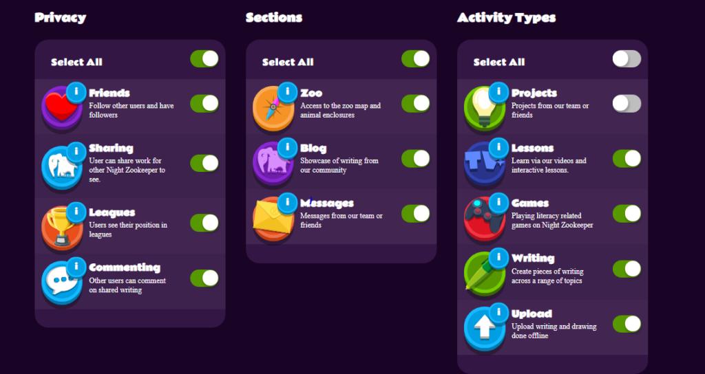 screenshot of night zookeeper parental controls