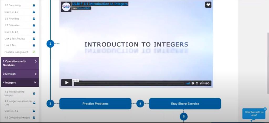 Screenshot of Unlock Math math lesson