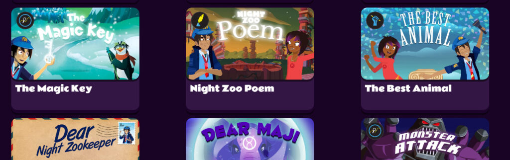 night zookeeper screenshot showing writing prompts