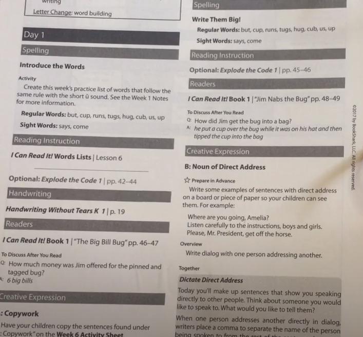 photo of language arts guide from bookshark
